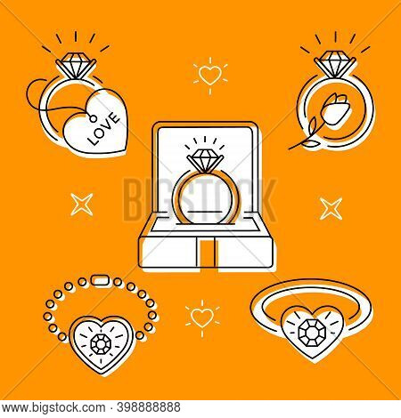Set Of Linear Icons On The Theme Of Jewelry On An Orange Background. Ring Box. Vector Illustration
