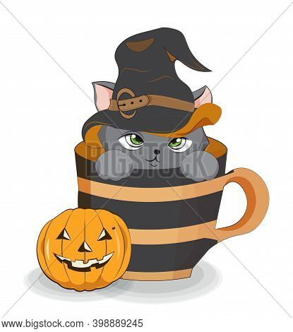 Lovely Vector Halloween Cay, Kitten In Witch Hat, In Cup Near Pumpkin, Pcture In Hand Drawing Cartoo