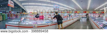 Bangkok, Thailand - December 09: Makro Supermarket Refrigerated Section Supplies Frozen And Fresh Go