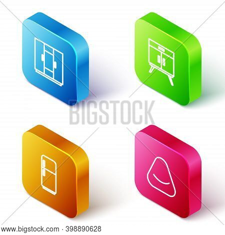 Set Isometric Line Wardrobe, Chest Of Drawers, Refrigerator And Pouf Icon. Vector