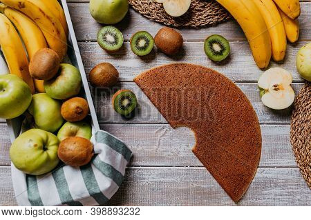 Fruit Leather With Fresh Fruits On The Wooden Table. Round Fruit Leather. Healthy Food. Apples, Bana