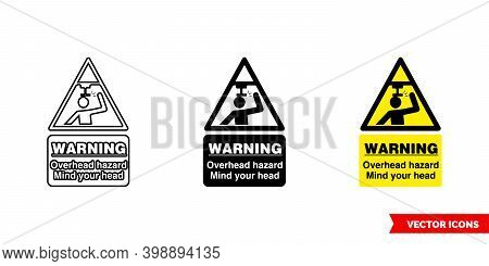 Warning Overhead Hazard Mind Your Head Hazard Sign Icon Of 3 Types Color, Black And White, Outline.