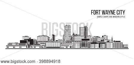 Cityscape Building Abstract Simple Shape And Modern Style Art Vector Design - Fort Wayne City