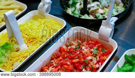 Salad Bar Buffet At Restaurant. Fresh Salad Bar Buffet For Lunch Or Dinner. Healthy Food. Chopped To