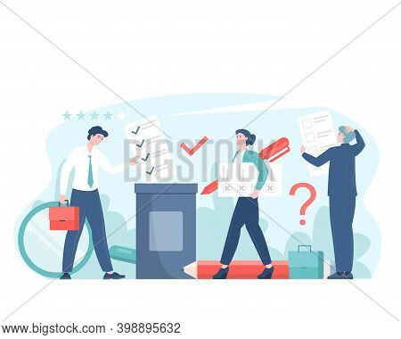 Voting Or Survey Concept Flat Vector Illustration With Voters Making Decisions. Man And Woman Charac