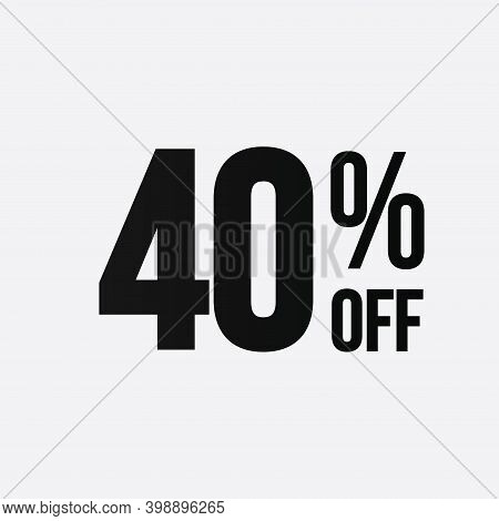 Golden 40 Percent Off Flat Cartoon Style Vector Logo Concept. 40 Percent Sale Isolated Icon On White