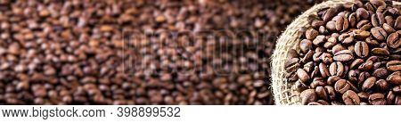 Image Of Arabica Coffee Seeds Export Type, In The Outdoor Pattern, Copy Space For Text, Advertising