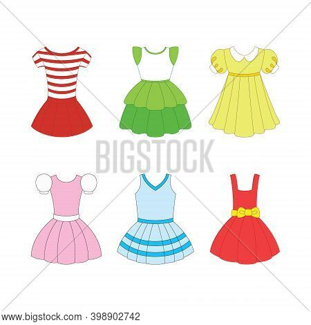 Set Of Dresses For Girls On White Background.