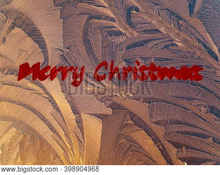 The Inscription Merry Christmas On A Background Of Frost. Festive Illustration. Merry Christmas. New