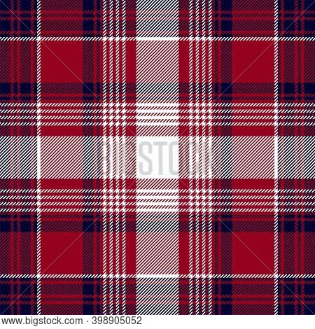 Blue Red Check Plaid Texture Seamless Pattern. Vector Background.