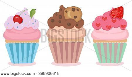 Set Of 3 Cute Cartoon Cupcake With Different Fancy Decoration. Collection Of Cupcakes With Cherry, C
