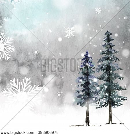 Winter Christmas Card Hand-painted Watercolor. Conifer Artwork With Star Snowflakes And Snowfalls On