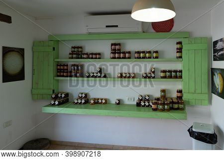 Nazareth, Israel, December 05, 2020 : Jars Of Honey And Jam Are On The Shelves At The Local Store In
