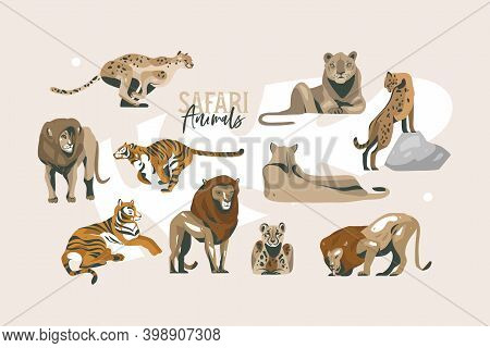 Hand Drawn Vector Stock Abstract Flat Graphic Illustration With African Wild Lion And Lioness, Cheet