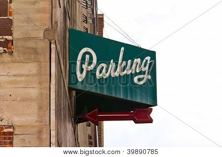 Vintage Parking Garage Sign Isolated On White Background