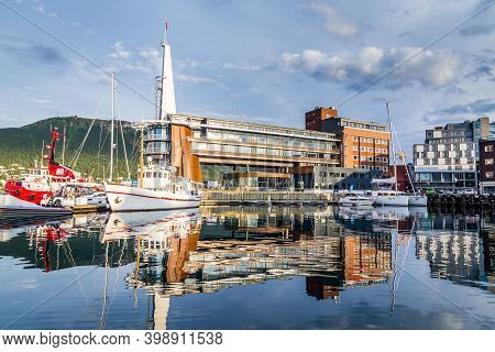 The Harbor In The Center Of Tromso In Northerm Norway