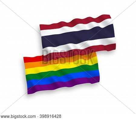 National Fabric Wave Flags Of Rainbow Gay Pride And Thailand Isolated On White Background. 1 To 2 Pr