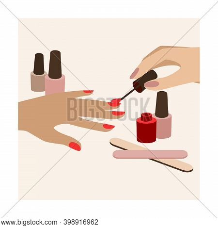 Elegant Woman Hands Doing Manicure Applying Nail Polish. Woman S Palm With Red Manicure