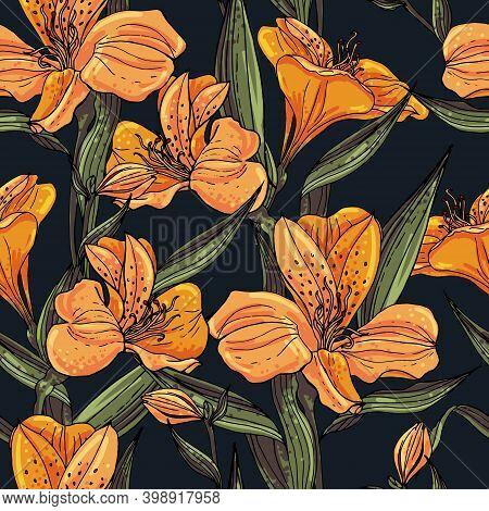 Seamless Vector Pattern With Orange Alstroemeria On A Dark Blue Background.