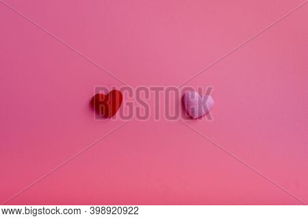 Valentine's Day, Mother's Day, Birthday. Two Decorative Hearts In The Middle On A Pink Background