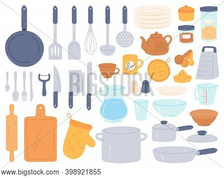 Kitchenware And Utensils. Cooking Baking Kitchen Tools. Chef Cook Equipment Pan, Bowl, Kettle And Po