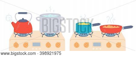 Pot And Pan On Stove. Preparing Food And Boiling Water In Saucepan And Kettle With Steam On Kitchen