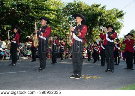Khon Kaen,thailand - Nov 29 , 2019 :unidentified Marching Band Parade As It Performs On The Street I