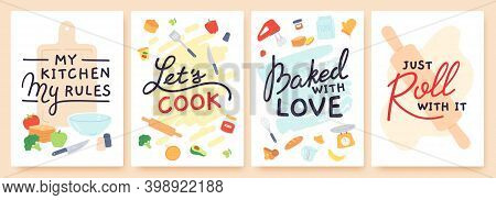 Cooking Poster. Kitchen Prints With Utensils, Ingredient And Inspirational Quote. Baked With Love. F