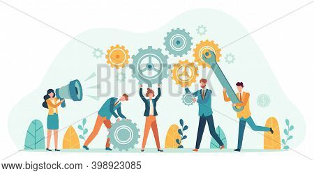 Business People With Gears. Employee Team Create Mechanism With Cogs, Manager With Megaphone. Tiny P