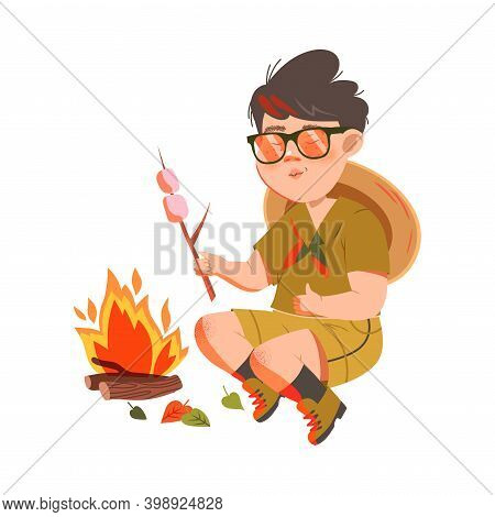 Freckled Boy Junior Scout In Khaki Shirt Sitting At Campfire And Frying Marshmallow Vector Illustrat