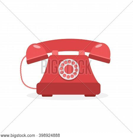 Retro Red Phone Isolated On White Background. Vintage Phone Icon. Vector Stock