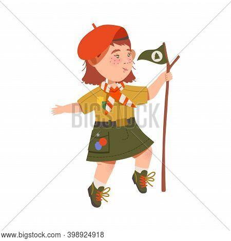 Freckled Girl Junior Scout In Bonnet Holding Flag On Stick Vector Illustration