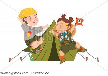 Boy And Girl Junior Scout With Freckles Jumping With Joy Near Tent Vector Illustration