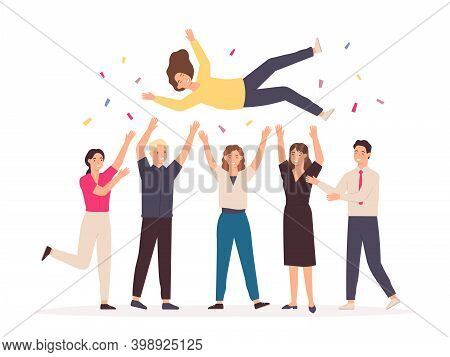 Team Throwing Person In Air. Celebrate Win And Business Success Congratulation. Friends Toss Up Woma