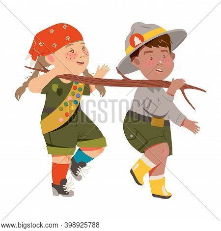 Cute Girl And Boy As Junior Scout Carrying Wooden Stick Vector Illustration