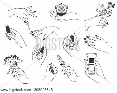 Hand Manicure And Care. Female Logos For Nail Cosmetics And Beauty Spa Salon. Hands Paint, File Nail