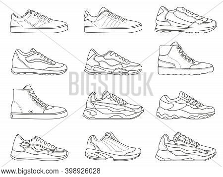 Sneakers Icon. Outline Sport Shoe Types For Running And Fitness. Minimalist Line Sneaker Symbols. Fa