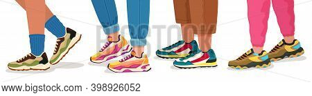 Feet In Sneakers. Female And Male Walking Legs In Sport Shoes With Socks, Pants And Jeans. Trendy Fa