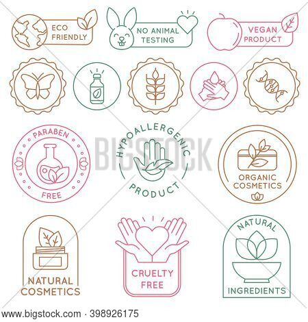 Organic Cosmetics Badges. Bio Beauty Products For Skin, Package Seal Ecology, Vegan, Natural Ingredi