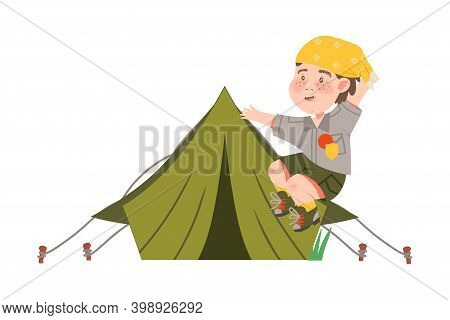 Freckled Boy Junior Scout Jumping With Joy Near Tent Vector Illustration