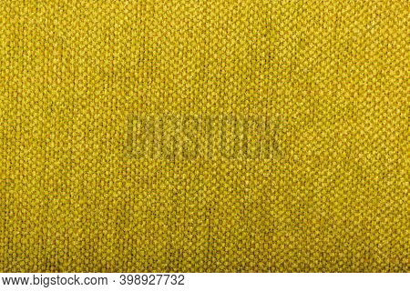 Factory Fabric With Brown And Yellow Threads Interspersed. Close-up Long And Wide Texture Of Natural