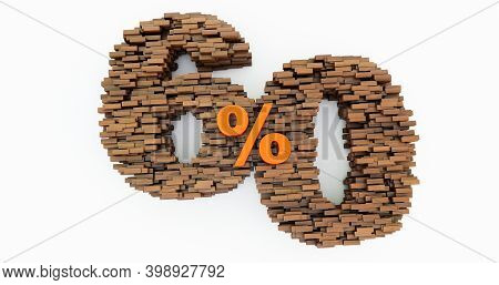 Concept Of Wooden Bricks That Build Up To Form The 60% Off, Promotion Symbol, Wooden 60 Percent On W