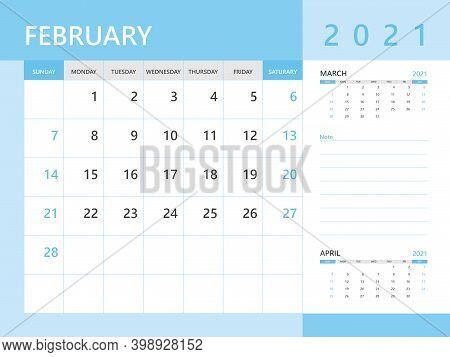 Calendar 2021 Template, February 2021 Year, Desk Calendar 2021 Layout, Corporate Design Planner Temp
