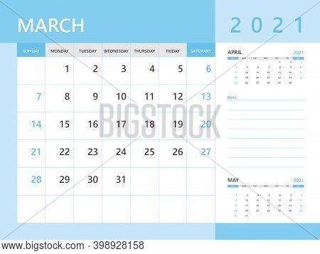 Calendar 2021 Template, March 2021 Year, Desk Calendar 2021 Layout, Corporate Design Planner Templat