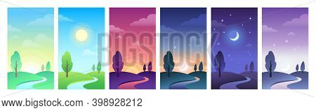 Countryside Landscape In Different Parts Of Day Time. Sky And Field Daytime Circle As Sunrise, Morni