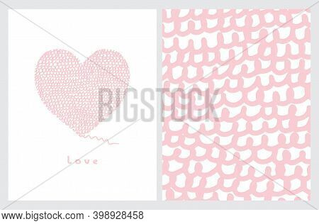 Funny Hand Drawn Valentine's Day Vector Illustration And Layout. Pastel Pink Abstract Woolen Heart I