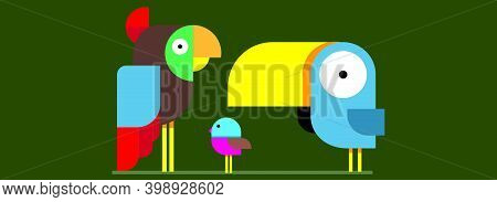 Wood Pecker,parrot And Sparrow. Three Color Birds In Different Sizes Isolated On Green Background.