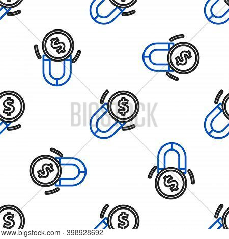 Line Magnet With Money Icon Isolated Seamless Pattern On White Background. Concept Of Attracting Inv