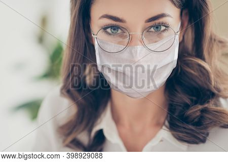 Cropped Close-up View Portrait Of Pretty Corporate Woman In Eyewear Wearing Safety Mask Anti Virus S