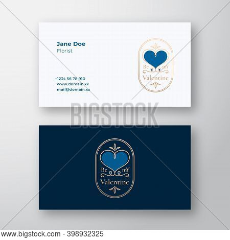 Be My Valentine Abstract Curly Heart Frame Label And Business Card Template. Gold And Blue Colors Gr